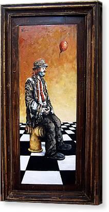 Clown S Melancholy Canvas Print by Natalia Tejera