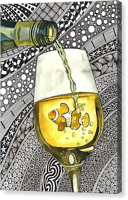 Clown Wine Canvas Print by Terri Kelleher