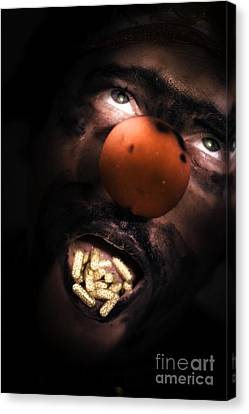 Clown With Capsules In Mouth Canvas Print