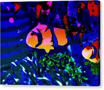 Canvas Print featuring the painting Colorful Reef Artwork Clownfish by David Mckinney