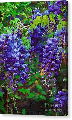 Canvas Print featuring the photograph Clusters Of Wisteria by Donna Bentley