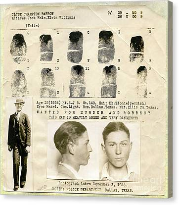 Clyde Barrow Mugshot Canvas Print