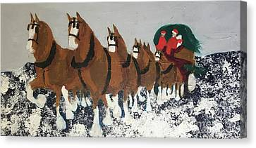 Canvas Print featuring the painting Clydsdale Horses Bringing Home The Tree by Donald J Ryker III