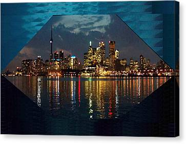 Cn  Tower And Toronto Down Town Water Front Beauty At Night Hexagon Poster  Canvas Print by Navin Joshi