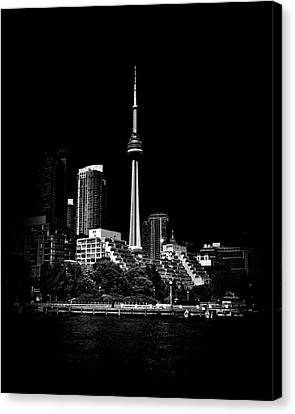 Canvas Print featuring the photograph Cn Tower From Bathurst Quay Toronto Canada by Brian Carson