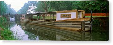 Water Vessels Canvas Print - C&o Canal And Canal Boat, Great Falls by Panoramic Images