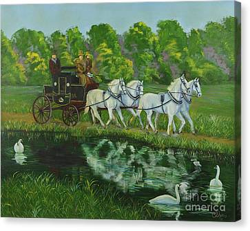 Coach And Four In Hand Canvas Print by Charlotte Blanchard