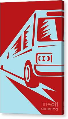 Coach Bus Coming Up Canvas Print by Aloysius Patrimonio