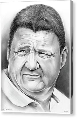 Coach Orgeron Canvas Print by Greg Joens