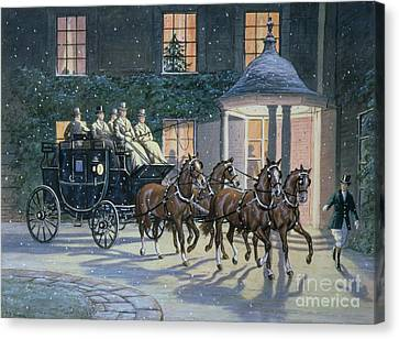 Coaching At Hurlingham Canvas Print by Ninetta Butterworth