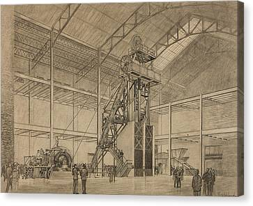 Coal Mine Hoist Canvas Print by Percy Hale Lund