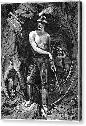 Coal Miner, 19th Century Canvas Print by Granger