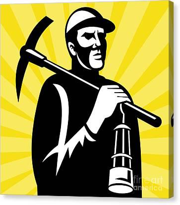 Coal Miner With Pickax Canvas Print by Aloysius Patrimonio
