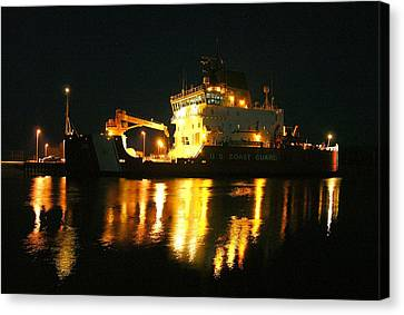 Coast Guard Cutter Mackinaw At Night Canvas Print by Keith Stokes