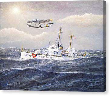 Coast Guard Cutter Pontchartrain And Coast Guard Aircraft  Canvas Print by William H RaVell III