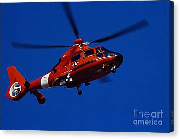 Law Enforcement Canvas Print - Coast Guard Helicopter by Stocktrek Images