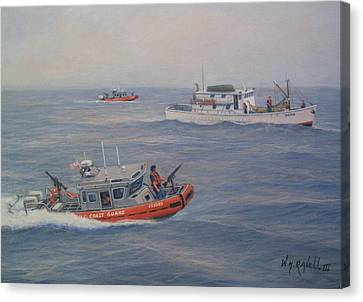 Coast Guard Nets Catch Of The Day Canvas Print by William H RaVell III