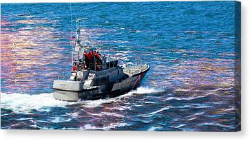 Canvas Print featuring the photograph Coast Guard Out To Sea by Aaron Berg