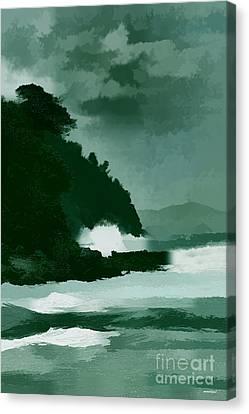Coast Line Storm Oil Effect Canvas Print by Tom Prendergast