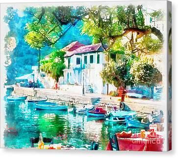 Coastal Cafe Greece Canvas Print