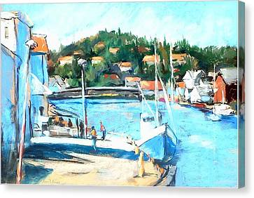 Coastal Fishing Village Canvas Print by Joan  Jones