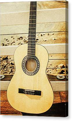 Coastal Guitar Fine Artwork Canvas Print