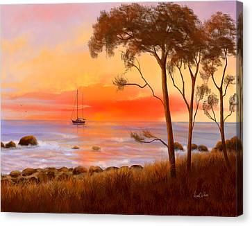Canvas Print featuring the painting Coastal Paradise by Sena Wilson