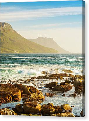 Coastal Rocks And Mountains Canvas Print by Tim Hester