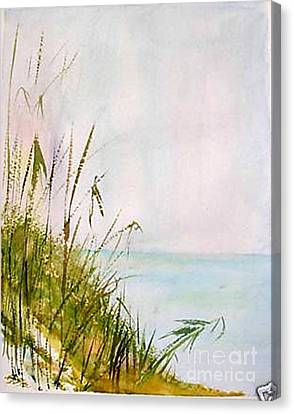 Canvas Print featuring the painting Coastal Scene by Sibby S