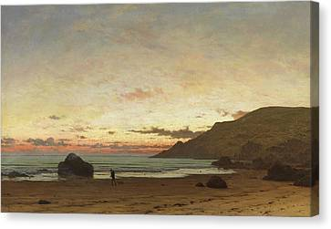 Coastal Scene With A Man And A Dog Canvas Print