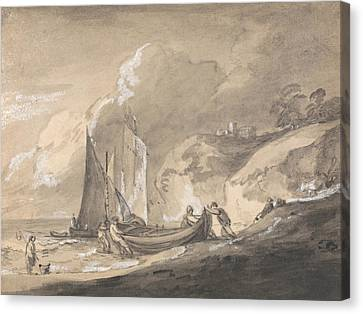 Coastal Scene With Figures And Boats  Canvas Print by Thomas Gainsborough