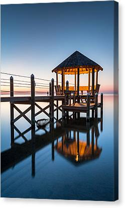Coastal Serenity - Hatteras Island Gazebo On The Pamlico Sound Canvas Print by Mark VanDyke