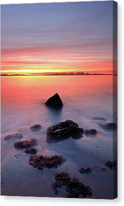 Canvas Print featuring the photograph Coastal Sunset Kintyre by Grant Glendinning