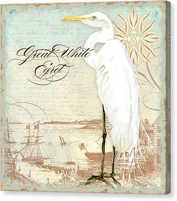 Great White Heron Canvas Print - Coastal Waterways - Great White Egret 2 by Audrey Jeanne Roberts