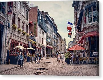 Cobblestone Streets In Old Montreal  Canvas Print by Maria Angelica Maira