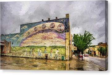 Coca-cola And Small Town Usa Canvas Print by JC Findley
