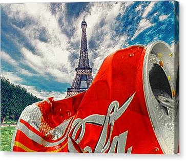 Memorabilia Canvas Print - Coca-cola Can Trash Oh Yeah - And The Eiffel Tower by Tony Rubino
