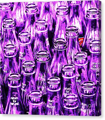 Coca-cola Coke Bottles - Return For Refund - Square - Painterly - Violet Canvas Print by Wingsdomain Art and Photography
