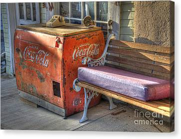 Coca Cola Cooler Back In Time Canvas Print by Bob Christopher