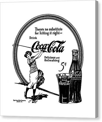 Coca Cola - No Substitute For Hitting It Right 1922 Canvas Print by Daniel Hagerman