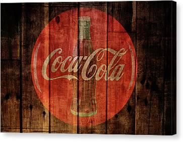 Coca Cola Old Grunge Wood Canvas Print