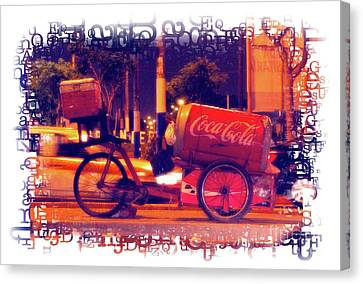 Canvas Print featuring the photograph Coca Cola Tricycle Bin - Lima by Mary Machare