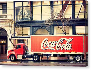 Coca-cola Truck In San Francisco Canvas Print by Kim Fearheiley