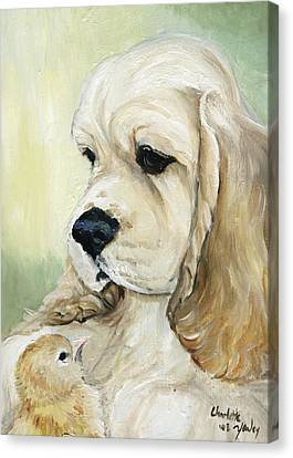 Cocker Spaniel And Chick Canvas Print by Charlotte Yealey