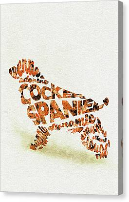 Cocker Spaniel Watercolor Painting / Typographic Art Canvas Print