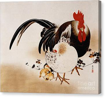 Cockerel, Hen And Chicks Canvas Print by Shibata Zeshin