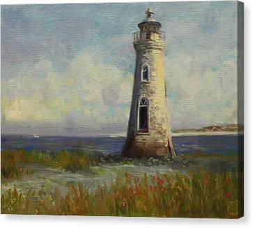 Cockspur Island Lighthouse Canvas Print by Nora Sallows