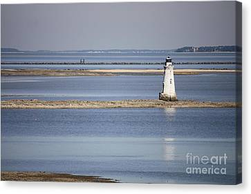 Cockspur Island Lighthouse With Jetty Canvas Print by Carol Groenen