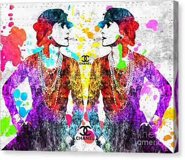 Coco Chanel Grunge 2 Canvas Print