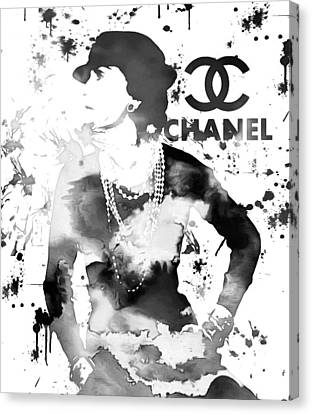 Coco Chanel Grunge Canvas Print by Dan Sproul